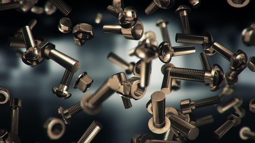 Abstract Background With Animation Of Falling Nuts Bolts