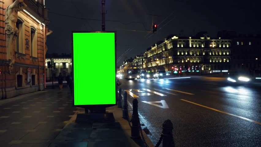A Billboard with a Green Screen on a Busy Night Street.Time Lapse. | Shutterstock HD Video #15819571