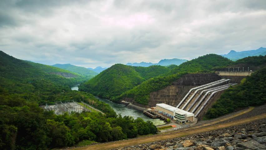 4K.Time lapse The power station at Srinagarind Dam, Kanchanaburi Thailand