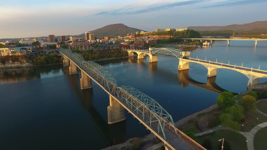 Aerial sunrise flying over Chattanooga Tennessee Resolution 4k