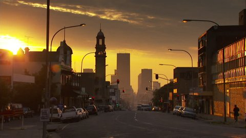 Locked off shot of Commissioner Street in Johannesburg during sunset