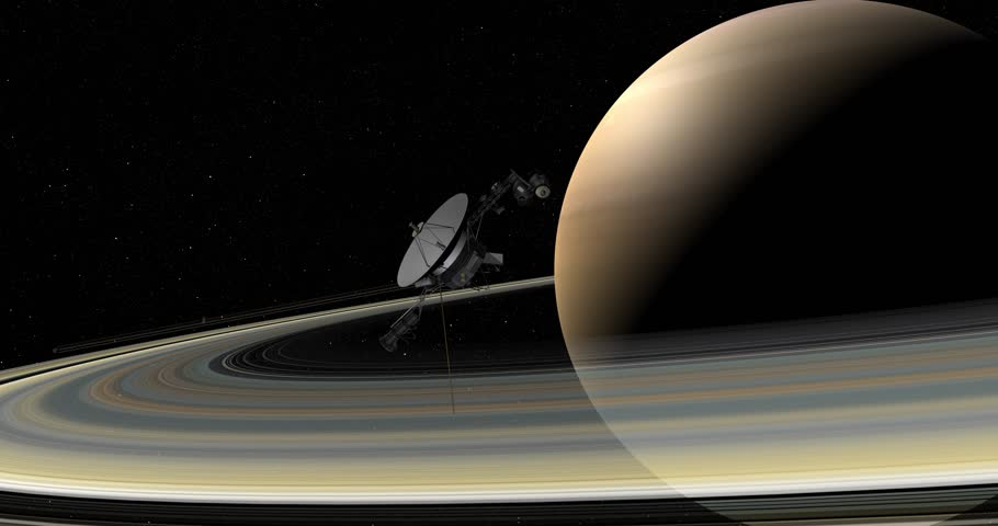 Voyager spacecraft making a close pass of Saturn. Data: NASA/JPL.