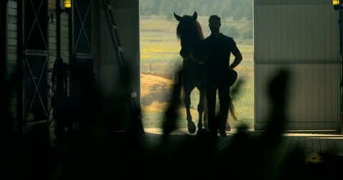 Horse barn silhouette with man Farm