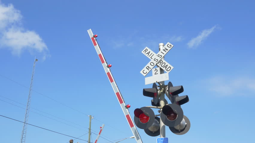 Railroad crossing sign Footage | Stock Clips