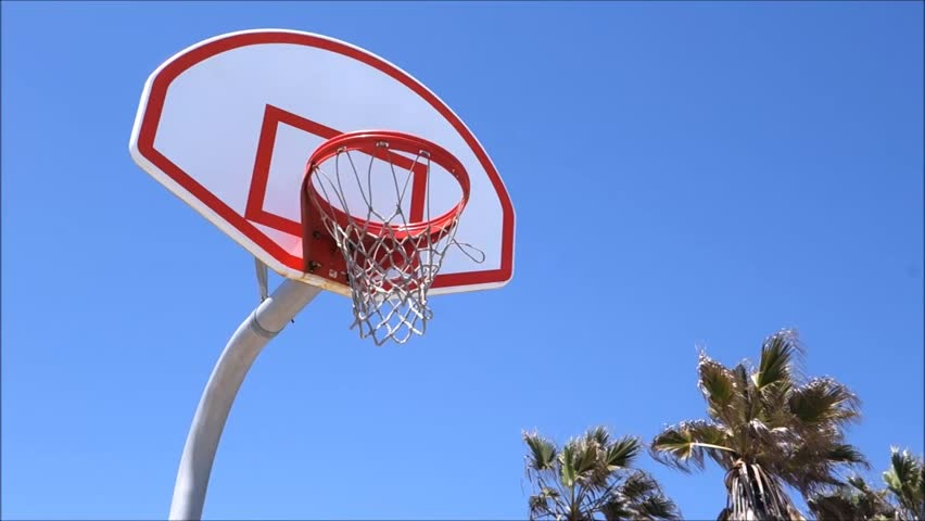 Basketball Court At Beach With Palm Trees