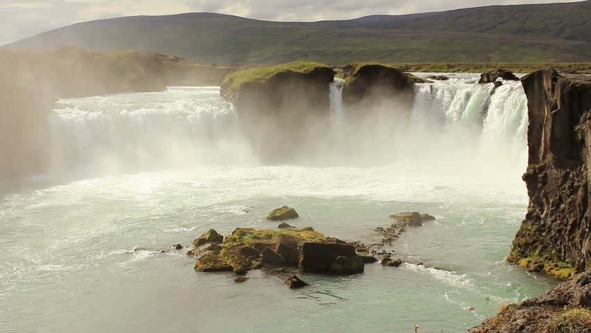 Godafoss waterfall in Iceland, wide shot