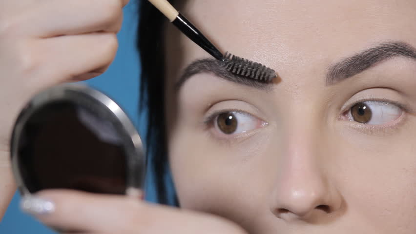 Eyebrow Comb Brush Woman Looking Into Stock Footage Video 100