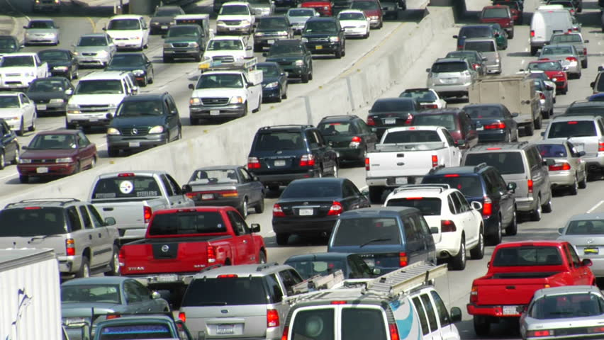 LOS ANGELES - CIRCA 2009: Traffic moves slowly along a busy freeway.