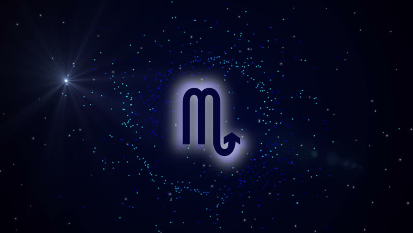 Astrological sign Scorpio on a dark background with stars