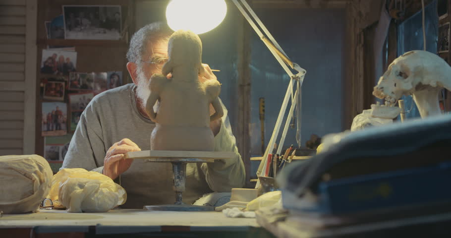 Old Artist Modeling a Clay Stock Footage Video (100% Royalty-free) 16090981  | Shutterstock