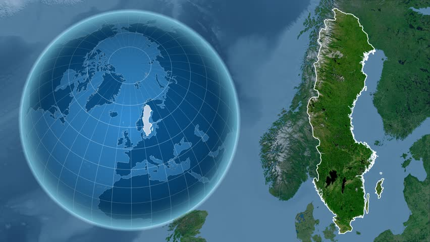 Sweden Shape Animated On The Elevation Map Of The Globe Stock - Sweden map satellite