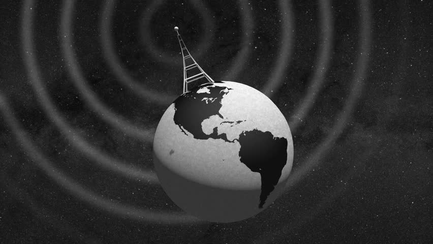 Retro Radio Tower on rotating globe and emitting radio waves - wide tilted shot - In 4k