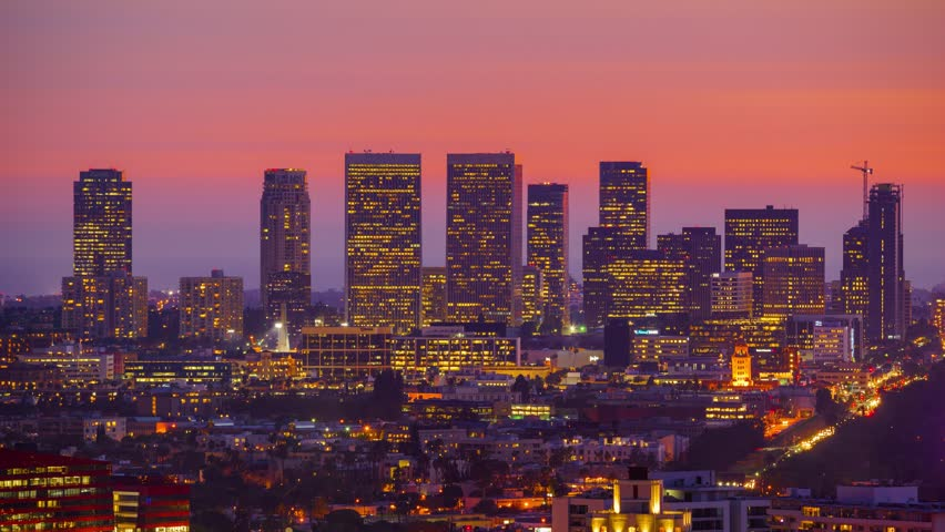 City Of Los Angeles Cityscape Panorama With View Of Downtown On ...