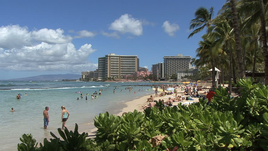 October 2011 - Hawaii - beach with hotels and tourists