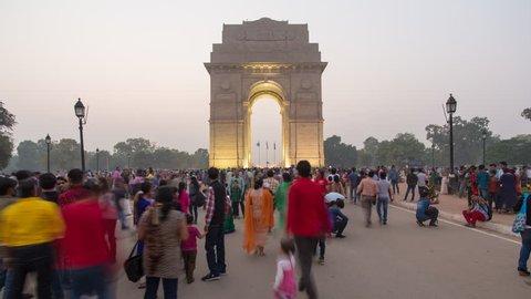 India Gate - CIRCA 2015 - Delhi, New Delhi, Uttar Pradesh, India - 4K timelapse
