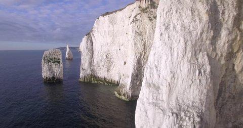 Chalk cliffs near Old Harry Rocks on the Dorset coast, Isle of Purbeck, Dorset, United Kingdom - 01/10/2015