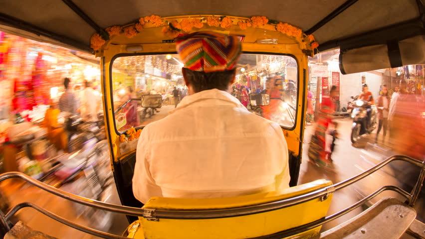 Autorickshaw POV busy illuminated old city streets, Udaipur, Rajasthan, India - 4K timelapse - 01/11/2015