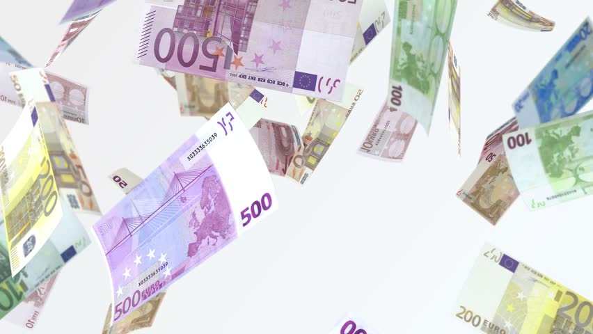 Rain from euro banknotes. 4 k looped video. Smoothly falling euro banknotes. Denominations par value: €10, €20, €50, €100, €200, and €500.