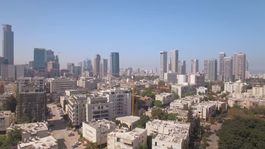 Aerial view of Ramat Gan - park and the city skyscrapers of Ramat Gan and Tel Aviv, Israel, flying away | Shutterstock HD Video #16215124