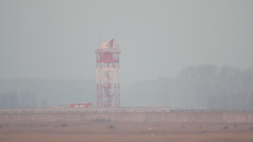 Radar tracks the flight of aircraft during takeoff runway | Shutterstock HD Video #1621891