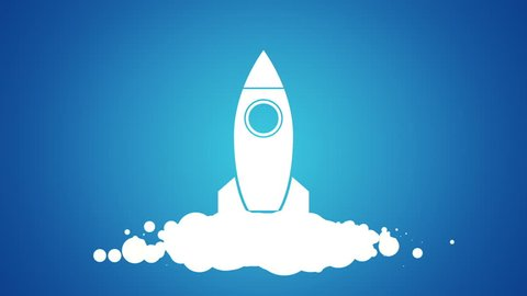 Animation of flying rocket with view from cosmos in drawing style. Animation in stop motion style. Animation of seamless loop.