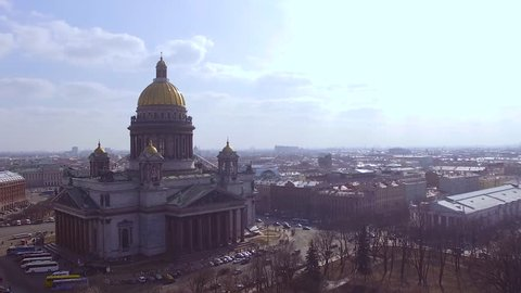 Aerial view of the Saint Isaac's Cathedral or Isaakievskiy Sobor, Saint Petersburg, Russia.It is the largest orthodox basilica and the fourth largest (volume under the cupola) cathedral in the world.