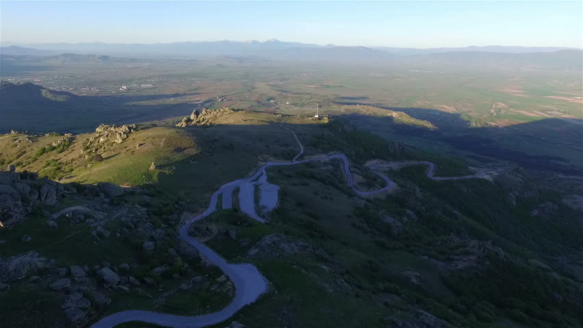 Aerial view of curvy road and Treskavec monastery in Macedonia.