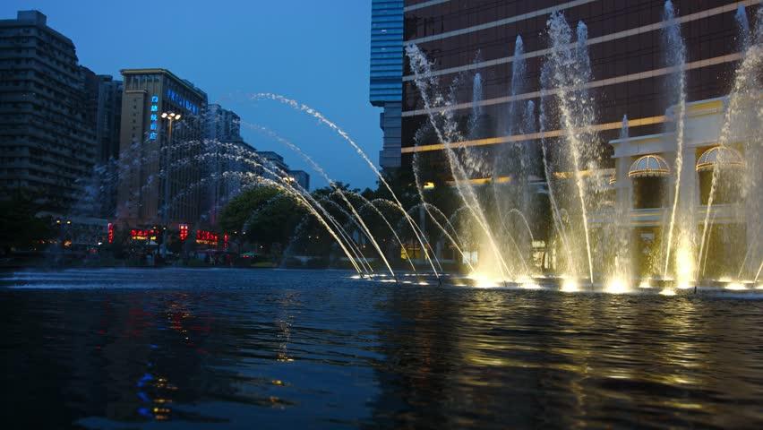 MACAU. CHINA - CIRCA JAN 2015: Dazzling fountain show at Wynn macau's performance lake in Macau. China. UltraHD 4k footage