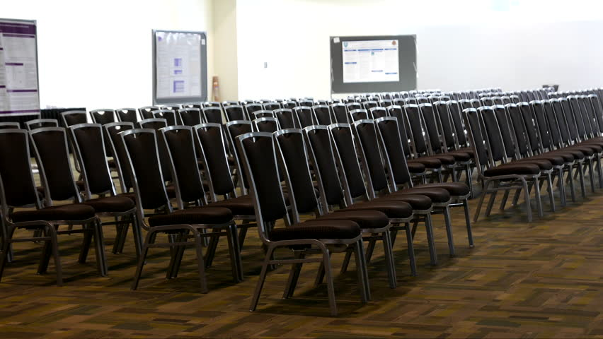 Vancouver, BC, Canada - April 21, 2016 : Empty conference hall with chairs at Canada Place hotel #16286461