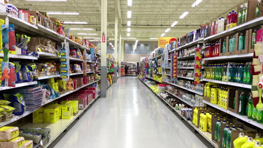 Coquitlam, BC, Canada - April 26, 2016 : Cleaning and pet food product corridor in Superstore with 4k resolution | Shutterstock HD Video #16286491