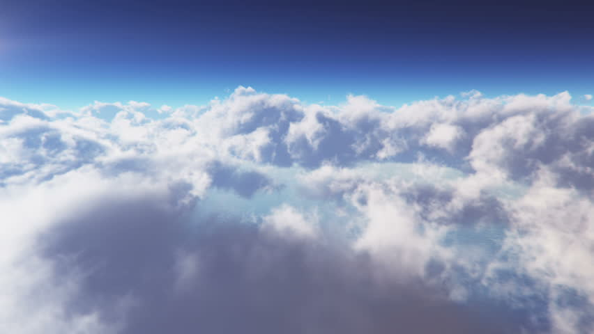 Flying Through white Clouds at daytime Seamless Loop.. extreme high detailed 3D render,