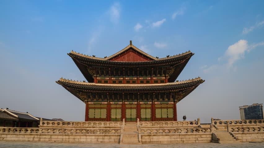 Timelapse At Gyeongbokgung Palace Seoul South Korea 4K Time Lapse