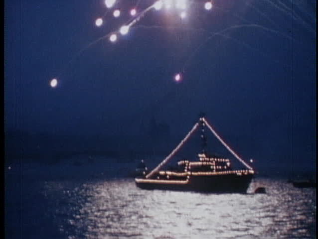 The Russian Navy salutes the Soviet Union with a display of fireworks.