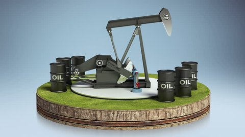 Oil drilling.oil drum on cycle ground.(included alpha)