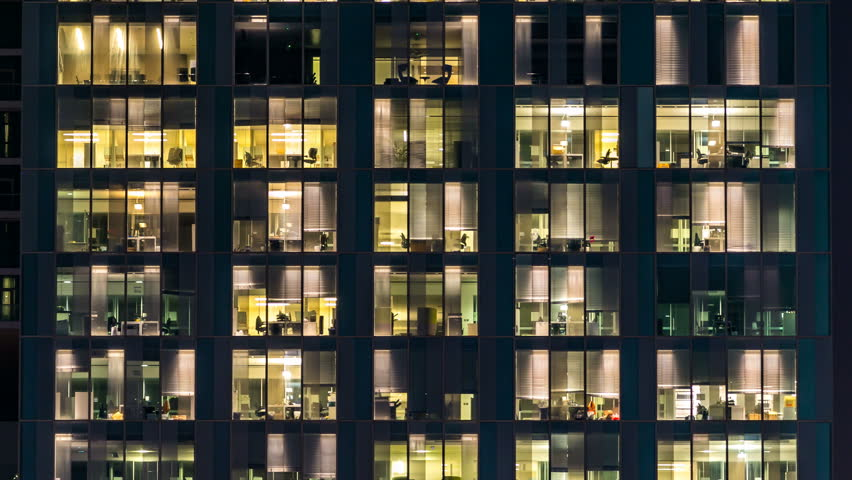 Window of the multi-storey building of glass and steel lighting and people within timelapse | Shutterstock HD Video #16330531