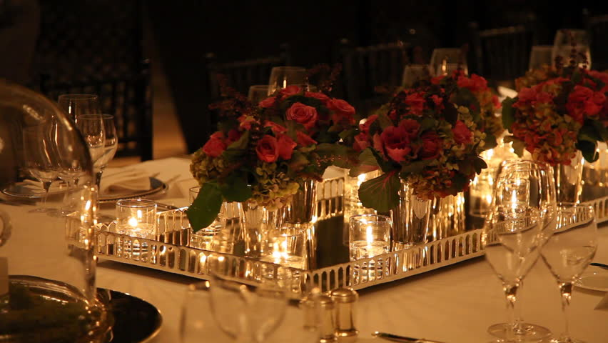 Wonderful Candle Light Dinner Table Setting Part - 4: Elegant Candlelight Dinner Table Setting At Reception Stock Footage Video  1633831 | Shutterstock