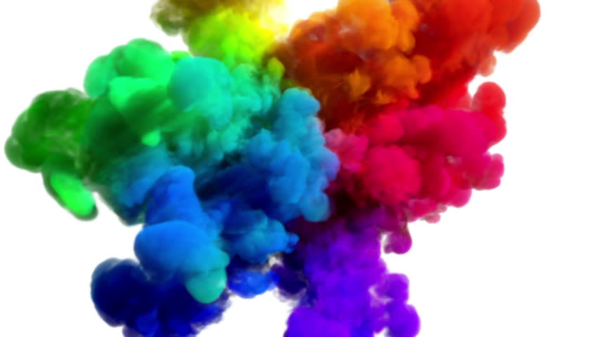 "Colored smoke explosion on white ""Spectrum"", variation 2 (slow motion, with alpha matte, full hd) 