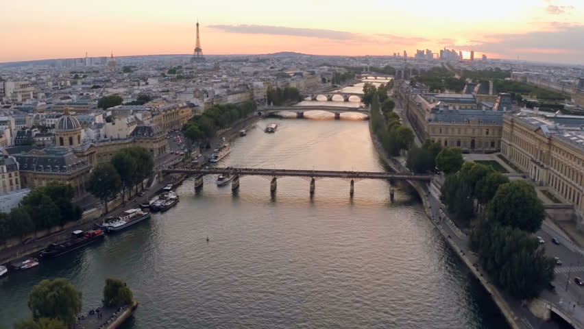 Aerial view of Paris during sunset | Shutterstock HD Video #16347901