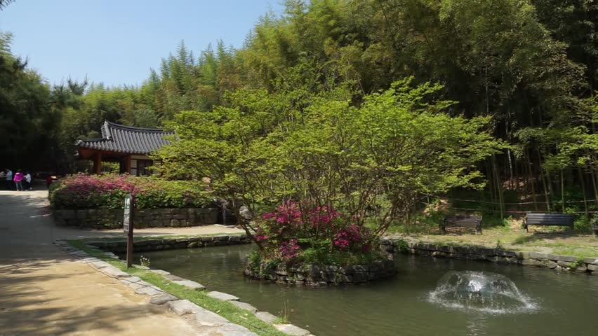damyang south korea april 2016 juknokwon bamboo garden hanok and fountain in small pond stock footage video 16348381 shutterstock - Bamboo Garden 2016