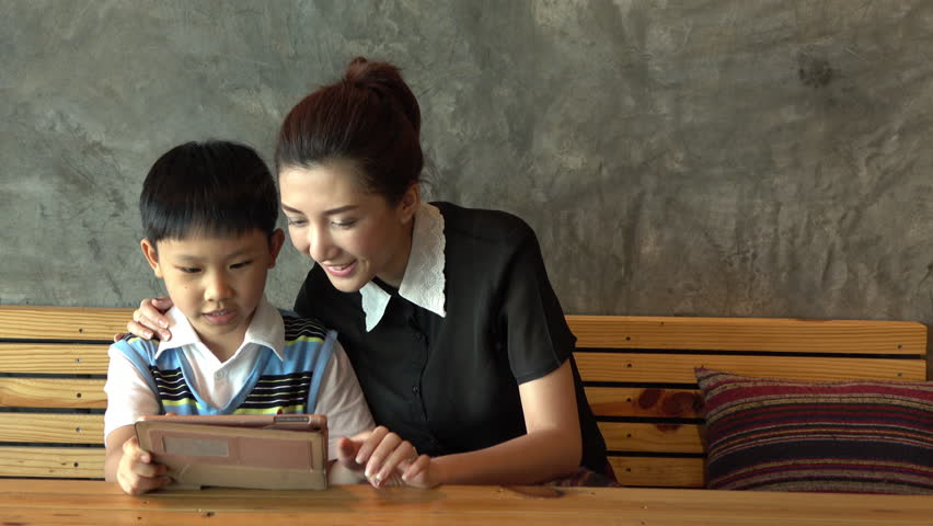Asian mum and son