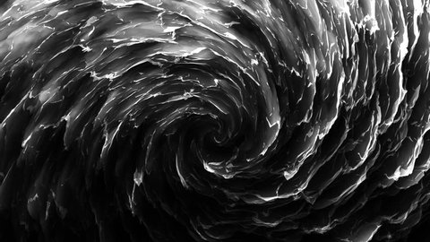 An endless rotating spiral. Subtle lighting and depth of field. Black background. Ideal for vj sessions, video mapping, and motion graphics. Hypnotic effects on the audience