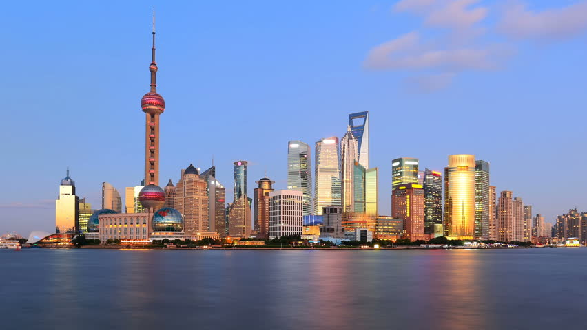 "Timelapse of Shanghai skyline, day to night.   >>> Please search similar: "" ShanghaiSkyline "" ."