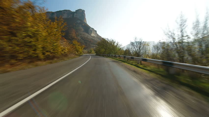 Driving on a winding mountain road in the direction of Ai-Petri, Crimea, Ukraine