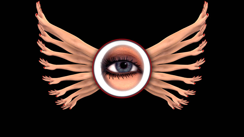ONE THOUSAND HANDS AND WOMAN'S EYE. Perfect 4K intro for reality TV show, news or movie. Can be also suitable for nightclub entertainment, fashion show, tourism ad design. TRANSPARENT ALPHA CHANNEL.