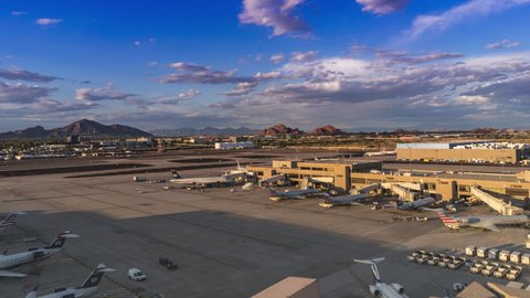 Sky Harbor Airport, Phoenix,AZ,USA May,8th,2016  March 2016 was the busiest month ever for Phoenix Sky Harbor International Airport.  4k Time-lapse of terminal 4 area.
