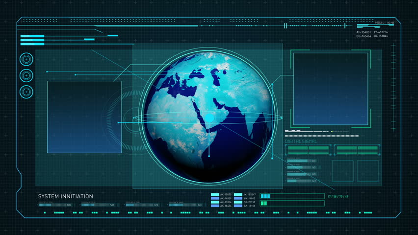 Rotating Earth in Digital display interface. technology graph, computer operation data screen. | Shutterstock HD Video #16542901