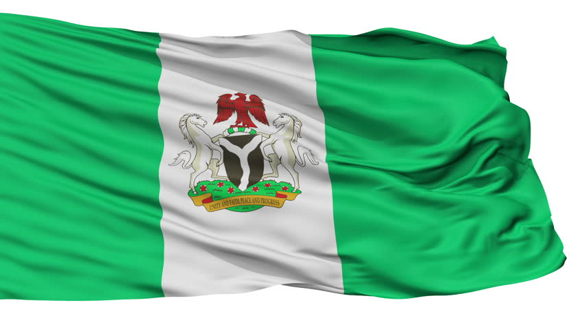 Abuja Capital City Flag of Nigeria, Isolated Realistic 3D Animation, Seamless Loop - 10 Seconds Long