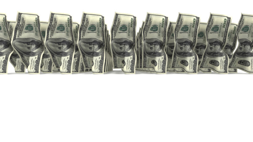 Troop of 100 dollar bills walking on white background with alpha channel. Three dimensional animation.