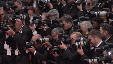 Cannes - May 12: Press frenzy photographing Money Monster cast at red carpet premiere at the Cannes Film Festival 2016