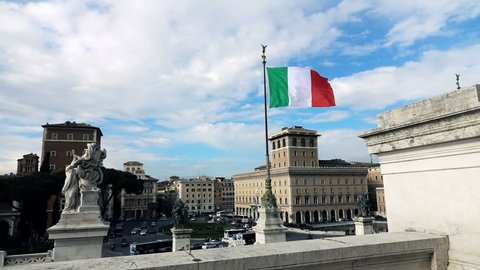 italy flag seen from the Altar of the Fatherland (Altare della Patria), Rome, Italy, 240fps